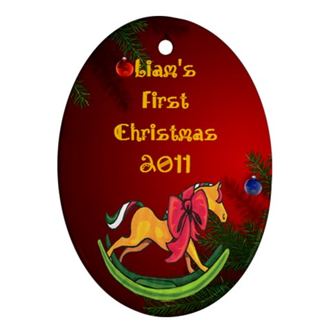 Liams First Christmas By Mstinak   Ornament (oval)   5629bpk3pg66   Www Artscow Com Front