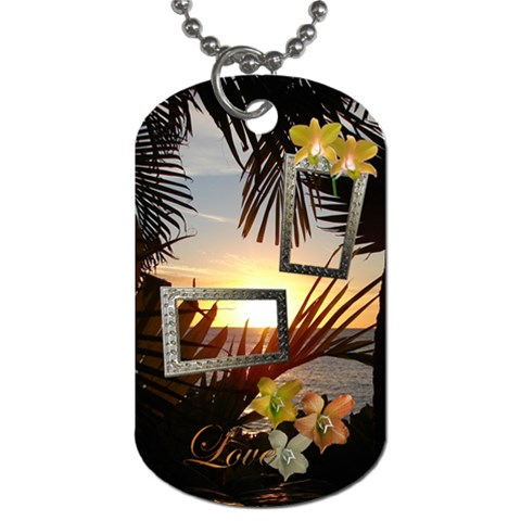 Palm Sunset 2 Shadow Frame Dog Tag By Ellan   Dog Tag (one Side)   Xnjilgcbc848   Www Artscow Com Front