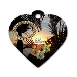 Palm love sunset heart dog tag - Dog Tag Heart (One Side)