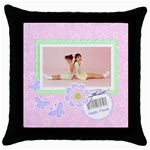 Happy Family Throw Pillow Case - Throw Pillow Case (Black)