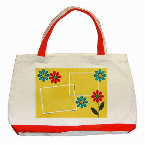 Classic Tote Bag: Summer Flowers By Jennyl   Classic Tote Bag (red)   0tvyxftwfapy   Www Artscow Com Front