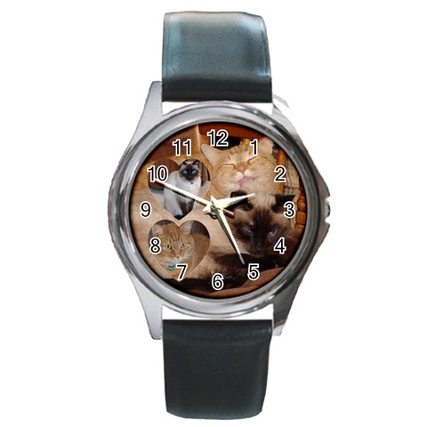 Kitty Watch By Gail   Round Metal Watch   28l3df8daf3v   Www Artscow Com Front