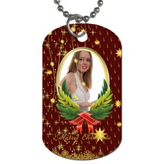 Merry Christmas By Wood Johnson   Dog Tag (two Sides)   Cvjyon3xzxdu   Www Artscow Com Back