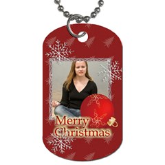 Merry Christmas By Wood Johnson   Dog Tag (two Sides)   Abe8yqyuuc12   Www Artscow Com Front