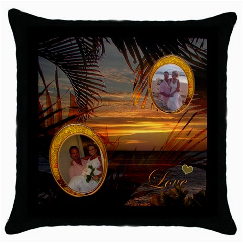 Palm Sunset Love 2 Frame Throw Pillow By Ellan   Throw Pillow Case (black)   Jlvic0cbj2y7   Www Artscow Com Front