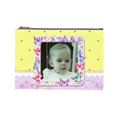 Yellow Butterfly Cosmetic Makeup Bag Xl By Claire Mcallen   Cosmetic Bag (large)   E9w39i8g11ah   Www Artscow Com Front