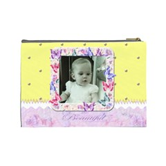 Yellow Butterfly Cosmetic Makeup Bag Xl By Claire Mcallen   Cosmetic Bag (large)   E9w39i8g11ah   Www Artscow Com Back