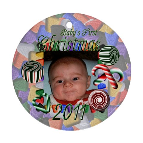 Baby s First Christmas Round Ornament By Chere s Creations   Ornament (round)   E9kfu2yvteev   Www Artscow Com Front
