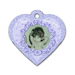 Lilac Blue Flower Heart Dog Tag By Claire Mcallen   Dog Tag Heart (two Sides)   Jwd9xgs5hwb9   Www Artscow Com Front