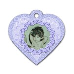 Lilac blue flower heart dog tag - Dog Tag Heart (Two Sides)