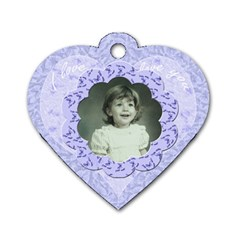 Lilac Blue Flower Heart Dog Tag By Claire Mcallen   Dog Tag Heart (two Sides)   Jwd9xgs5hwb9   Www Artscow Com Back