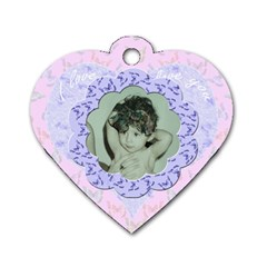 I love you Pink blue flower heart dog tag by claire mcallen Front