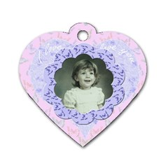 I love you Pink blue flower heart dog tag by claire mcallen Back