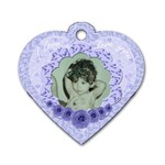 I love you blue flower heart dog tag - Dog Tag Heart (Two Sides)