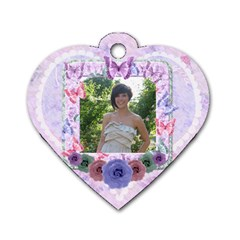 Beautiful Butterfly Girl Heart Flower Dog Tag By Claire Mcallen   Dog Tag Heart (two Sides)   Ywi70buoii2a   Www Artscow Com Back