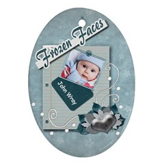 Frozen Faces Oval 2sided Ornament By Amarie   Oval Ornament (two Sides)   C58q7larxhp6   Www Artscow Com Front