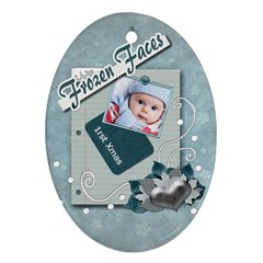 Frozen Faces Oval 2sided Ornament By Amarie   Oval Ornament (two Sides)   C58q7larxhp6   Www Artscow Com Back