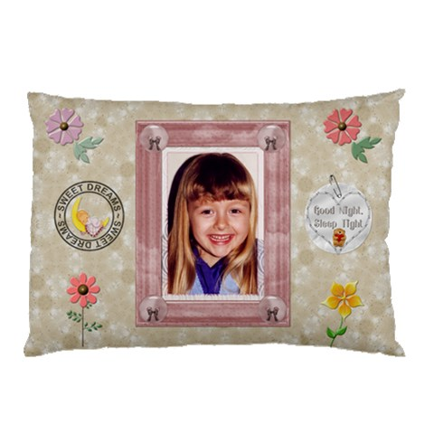Sweet Dreams Girl Pillow Case (1 Sided) By Lil    Pillow Case   7f7lrj2ao5nh   Www Artscow Com 26.62 x18.9 Pillow Case