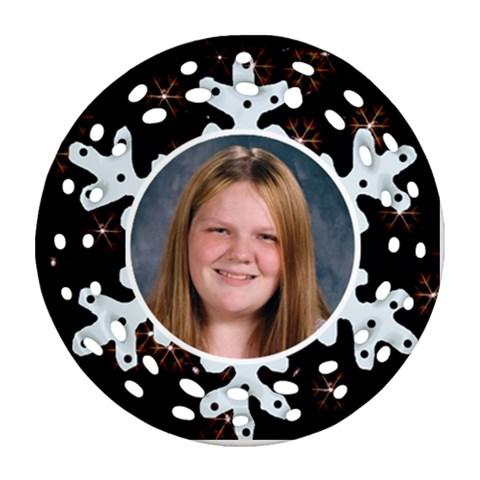 Filigree Snowflake Ornament By Kim Blair   Ornament (round Filigree)   U6fmtfjagbqs   Www Artscow Com Front