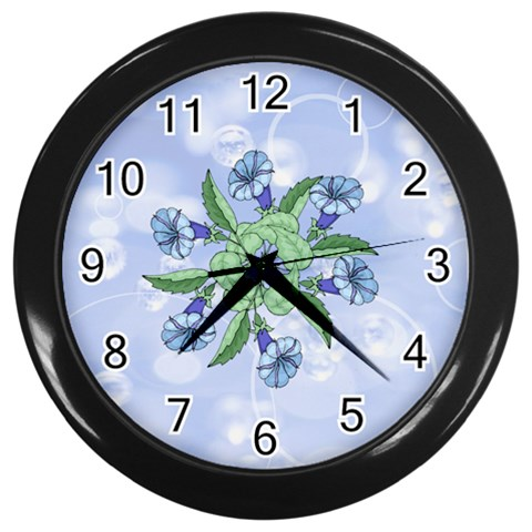 Blue Flower Clock By Birkie   Wall Clock (black)   D5a6jnzd2lbi   Www Artscow Com Front