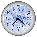 Blue Bubble Clock - Wall Clock (Silver)