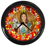 red butteryfly clock - Wall Clock (Black)