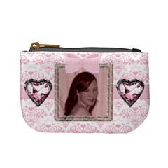 Pink Love Jewel Heart Mini Purse By Claire Mcallen   Mini Coin Purse   00zetv752hfb   Www Artscow Com Front