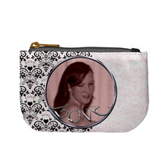 Pink With Black Lace Love Mini Purse Valentines By Claire Mcallen   Mini Coin Purse   Ttcjacm513wu   Www Artscow Com Front