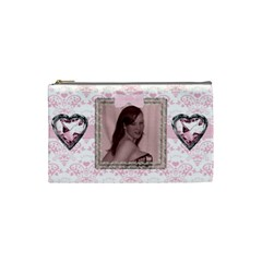 Pink Gingham Love Small Cosmetic Bag By Claire Mcallen   Cosmetic Bag (small)   5z1tw7ubbt9b   Www Artscow Com Front