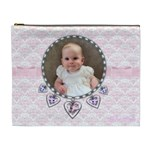 Pale pink and heart charm bracelet love cosmetic bag xl - Cosmetic Bag (XL)