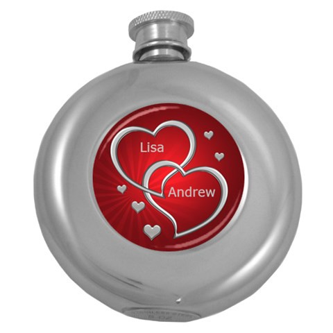 Love Silver And Red Hip Flask By Deborah   Hip Flask (5 Oz)   Bw6tzlt3swzz   Www Artscow Com Front