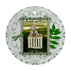 Green Nature Round Ornament (2 Sided) by Lil Front