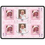 Pink Lace Flutter bear girls blanket - Fleece Blanket (Large)