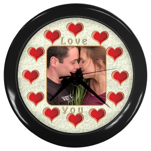 Love You Wall Clock By Deborah   Wall Clock (black)   Ipy1au04eipk   Www Artscow Com Front