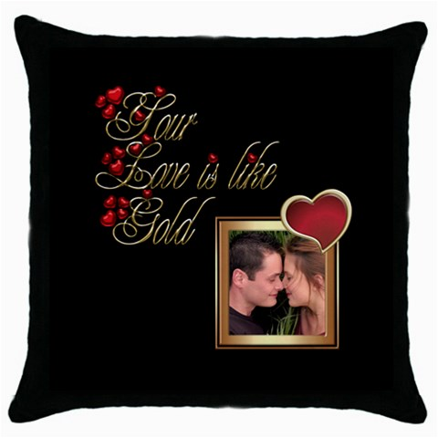 Gold Love Pillow Throw By Deborah   Throw Pillow Case (black)   O9nhk0lvwvjr   Www Artscow Com Front
