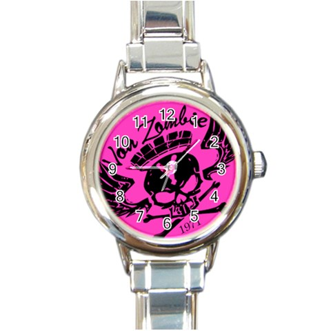 Zombie Queen Pink : Rd Italian Watch By Von Zombie ™©®   Round Italian Charm Watch   Qqqgd3uvb53f   Www Artscow Com Front