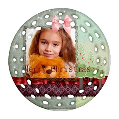 Christmas By Joely   Round Filigree Ornament (two Sides)   2t1fb9epti73   Www Artscow Com Front