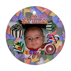Babys First Christmas Two Sided By Chere s Creations   Round Ornament (two Sides)   67fdj18cvv4d   Www Artscow Com Front