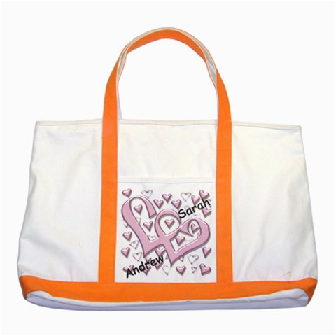 Named Love Hearts Tote By Deborah   Two Tone Tote Bag   Lwtabhldx96n   Www Artscow Com Front