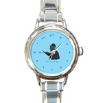 World s Best Father (Hebrew) Round Italian Charm Watch