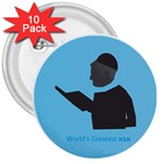 World s Best Father (Hebrew) 3  Button (10 pack)