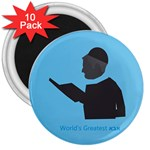 World s Best Father (Hebrew) 3  Magnet (10 pack)