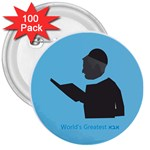 World s Best Father (Hebrew) 3  Button (100 pack)
