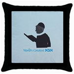 World s Best Father (Hebrew) Throw Pillow Case (Black)