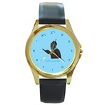 World s Best Father (Hebrew) Round Gold Metal Watch