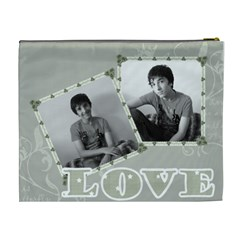 Classic Love Grey Cosmetic Bag Xl By Claire Mcallen   Cosmetic Bag (xl)   Pyljauyai3b0   Www Artscow Com Back
