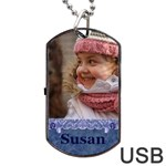 Blue Frill Dog Tag USB - Dog Tag USB Flash (One Side)