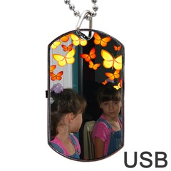 Butterfly Dog Tag Usb Flash By Kim Blair   Dog Tag Usb Flash (two Sides)   Payi6iqko3fi   Www Artscow Com Front