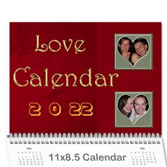 Large Wall  love  Calendar 2015 Red And Gold  By Claire Mcallen   Wall Calendar 11  X 8 5  (12 Months)   3xpqjirggr70   Www Artscow Com Cover