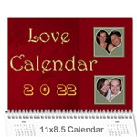 Large wall  love  calendar 2015 red and gold  - Wall Calendar 11  x 8.5  (12-Months)